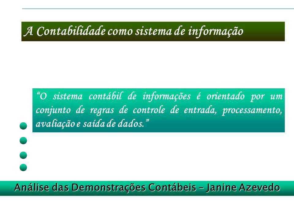 A Contabilidade como sistema de informação Análise das Demonstrações Contábeis – Janine Azevedo O sistema contábil de informações é orientado por um c