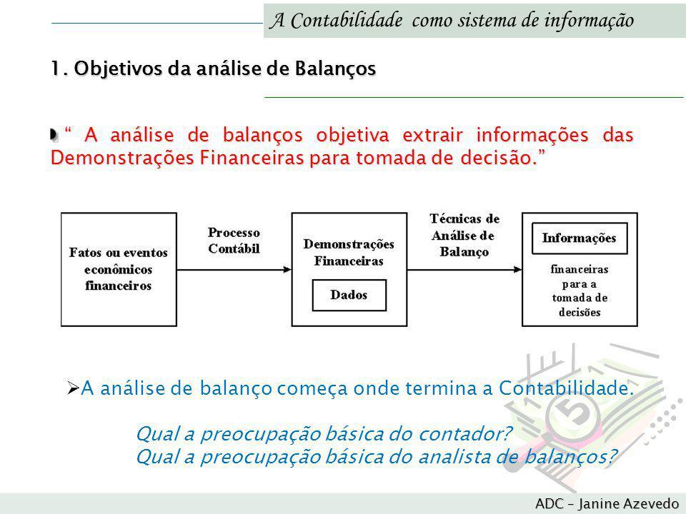 A Contabilidade como sistema de informação A análise de balanços objetiva extrair informações das Demonstrações Financeiras para tomada de decisão. A
