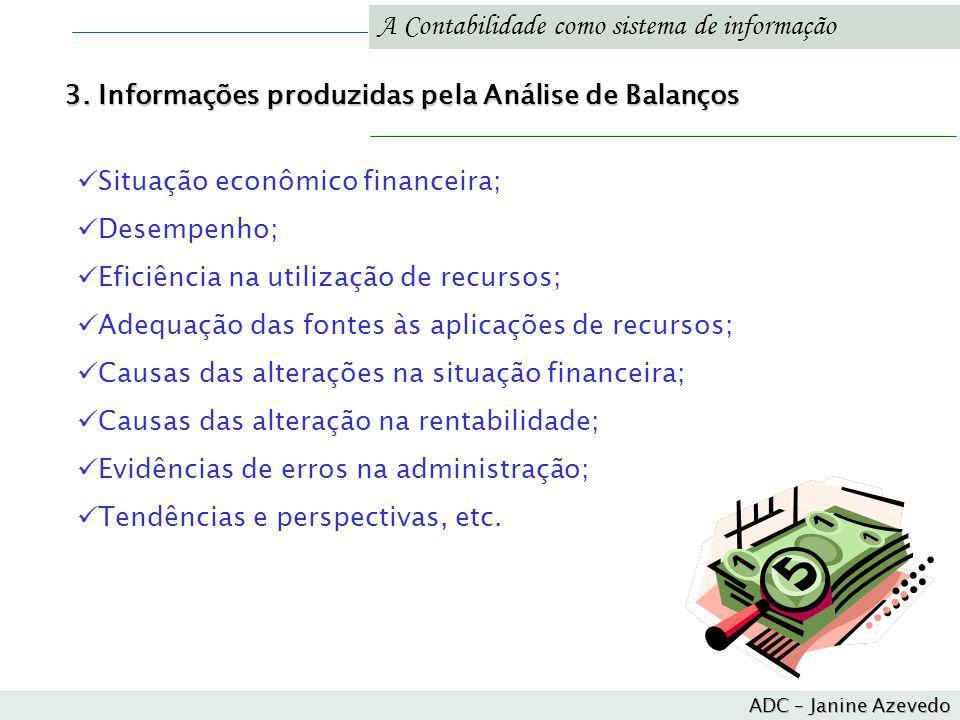 A Contabilidade como sistema de informação Situação econômico financeira; Desempenho; Eficiência na utilização de recursos; Adequação das fontes às ap
