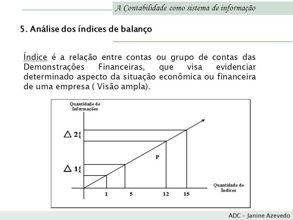 A Contabilidade como sistema de informação Índice é a relação entre contas ou grupo de contas das Demonstrações Financeiras, que visa evidenciar deter