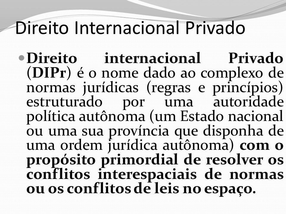 Direito Internacional Privado Direito internacional Privado (DIPr) é o nome dado ao complexo de normas jurídicas (regras e princípios) estruturado por