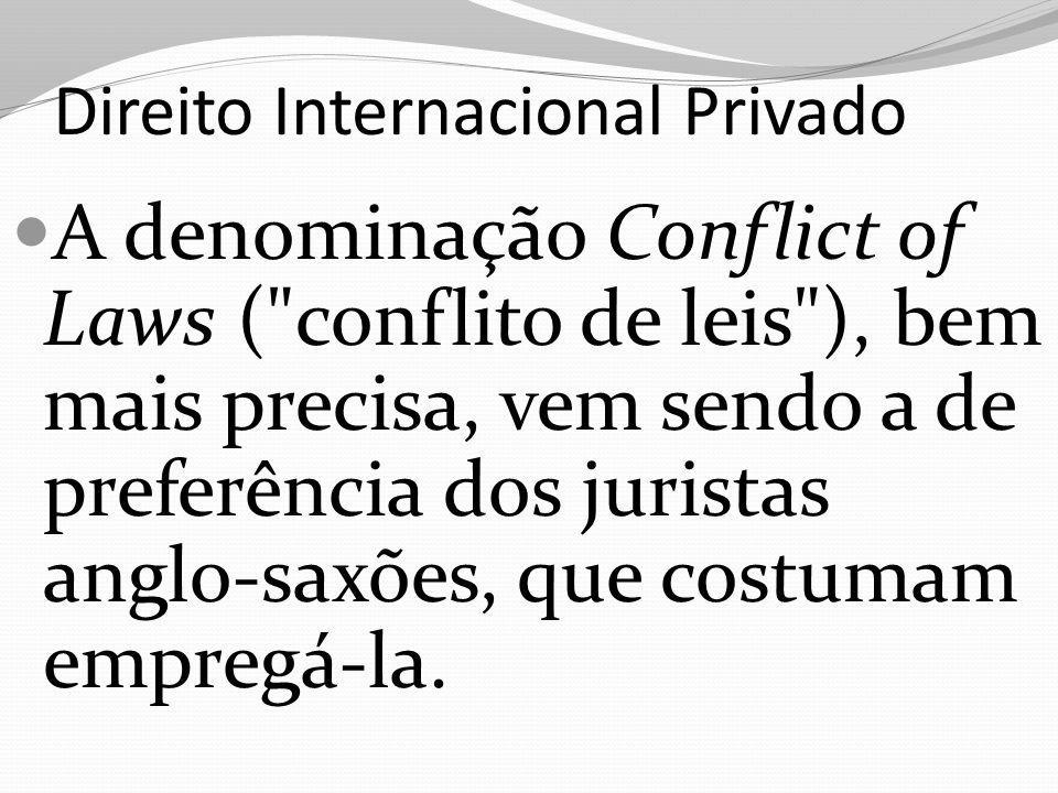 Direito Internacional Privado A denominação Conflict of Laws ( conflito de leis ), bem mais precisa, vem sendo a de preferência dos juristas anglo-saxões, que costumam empregá-la.