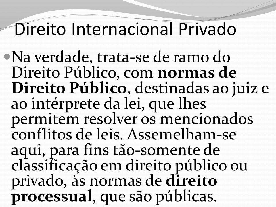 Direito Internacional Privado Na verdade, trata-se de ramo do Direito Público, com normas de Direito Público, destinadas ao juiz e ao intérprete da le