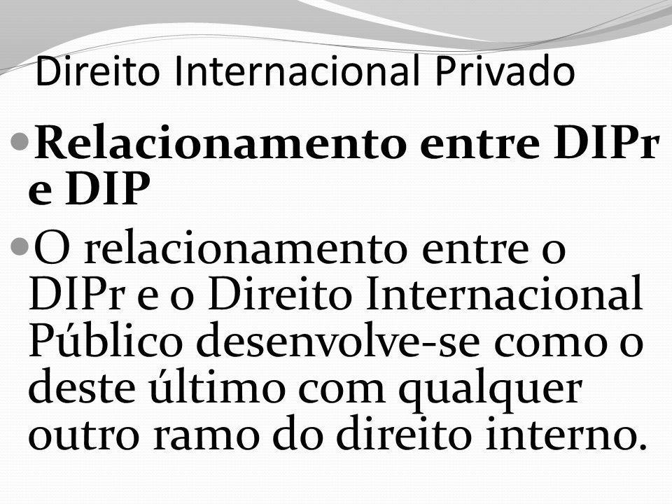 Direito Internacional Privado Relacionamento entre DIPr e DIP O relacionamento entre o DIPr e o Direito Internacional Público desenvolve-se como o deste último com qualquer outro ramo do direito interno.
