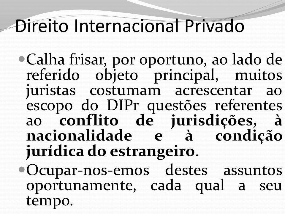 Direito Internacional Privado Calha frisar, por oportuno, ao lado de referido objeto principal, muitos juristas costumam acrescentar ao escopo do DIPr