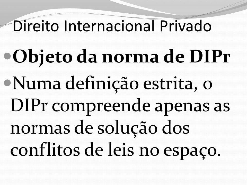 Direito Internacional Privado Objeto da norma de DIPr Numa definição estrita, o DIPr compreende apenas as normas de solução dos conflitos de leis no e