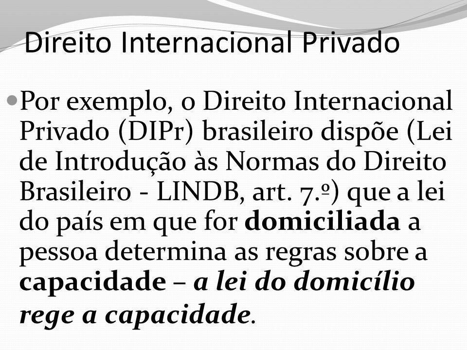 Direito Internacional Privado Por exemplo, o Direito Internacional Privado (DIPr) brasileiro dispõe (Lei de Introdução às Normas do Direito Brasileiro
