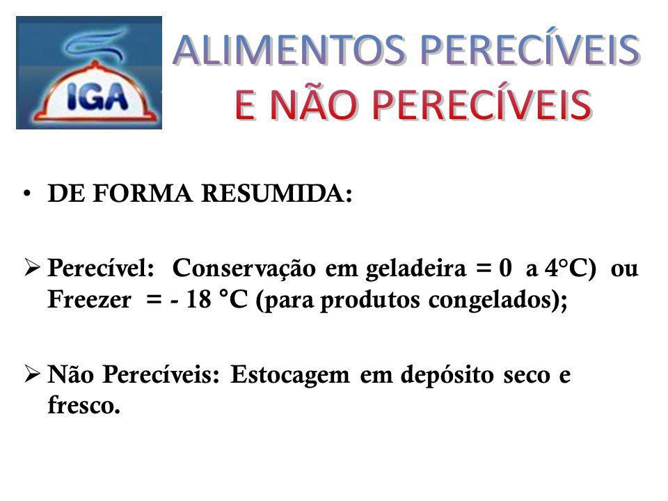 DE FORMA RESUMIDA: Perecível: Conservação em geladeira = 0 a 4°C) ou Freezer = - 18 °C (para produtos congelados); Não Perecíveis: Estocagem em depósito seco e fresco.