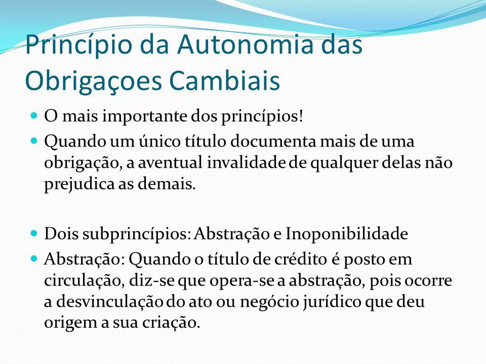 Princípio da Autonomia das Obrigaçoes Cambiais O mais importante dos princípios.