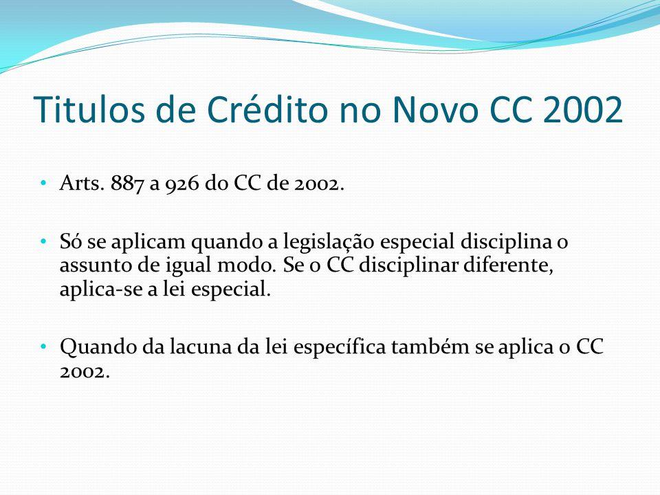 Titulos de Crédito no Novo CC 2002 Arts.887 a 926 do CC de 2002.