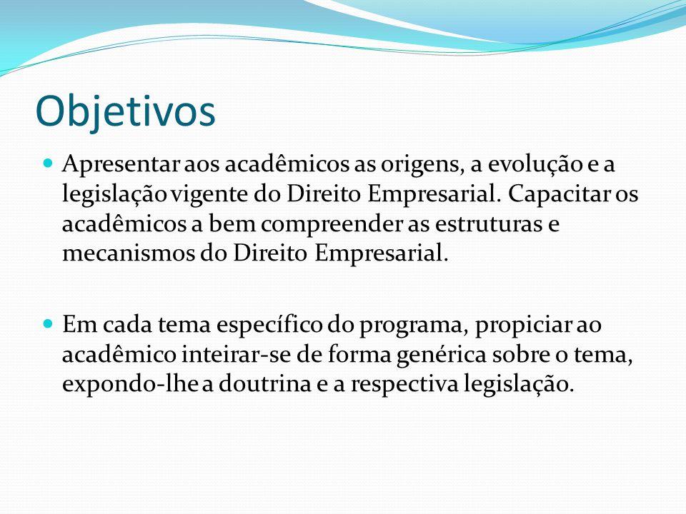Objetivos Apresentar aos acadêmicos as origens, a evolução e a legislação vigente do Direito Empresarial.