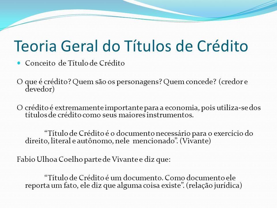 Teoria Geral do Títulos de Crédito Conceito de Título de Crédito O que é crédito.