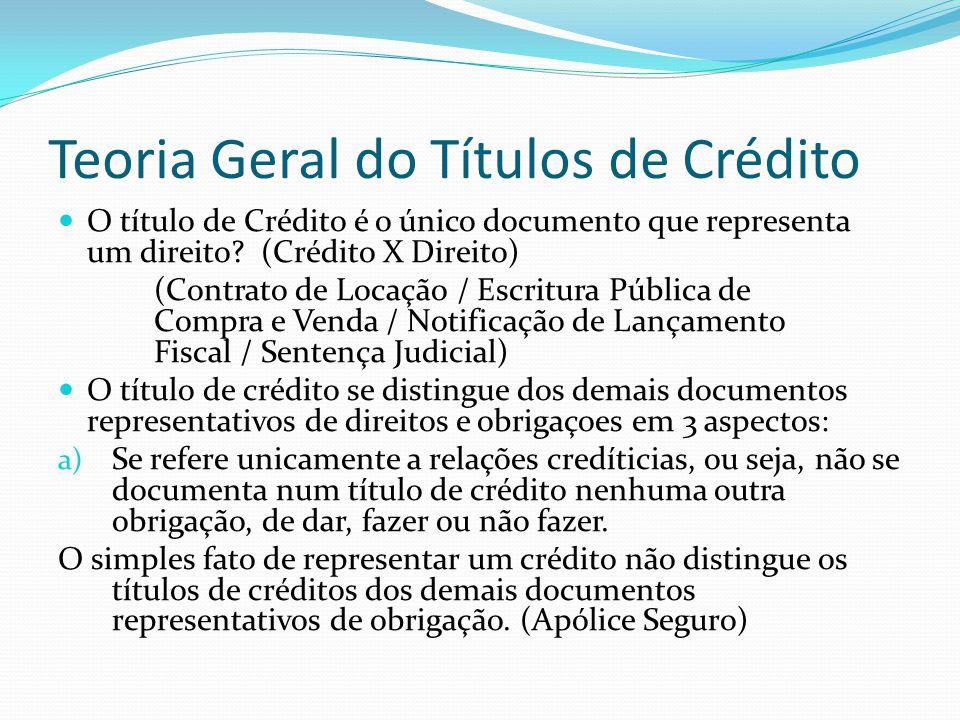 Teoria Geral do Títulos de Crédito O título de Crédito é o único documento que representa um direito.