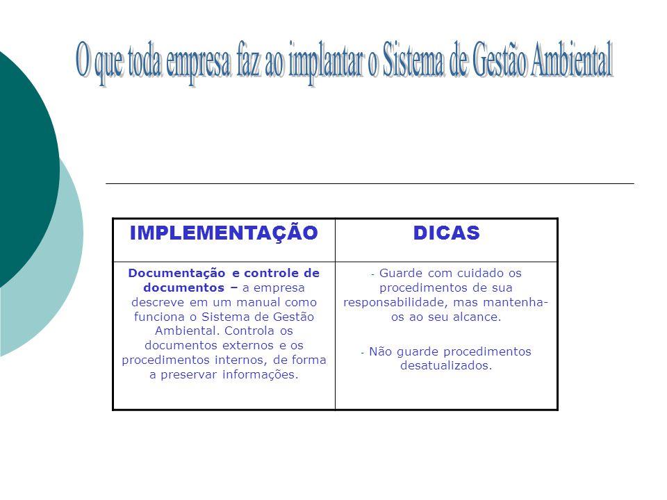 IMPLEMENTAÇÃODICAS Documentação e controle de documentos – a empresa descreve em um manual como funciona o Sistema de Gestão Ambiental. Controla os do