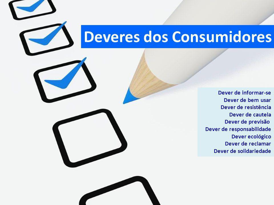 Deveres dos Consumidores Dever de informar-se Dever de bem usar Dever de resistência Dever de cautela Dever de previsão Dever de responsabilidade Deve