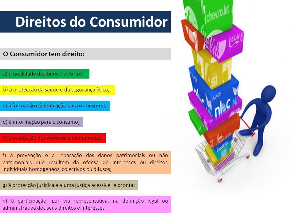 O Consumidor tem direito: Direitos do Consumidor a) à qualidade dos bens e serviços; b) à protecção da saúde e da segurança física; c) à formação e à