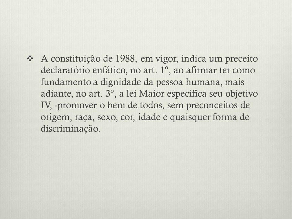 A constituição de 1988, em vigor, indica um preceito declaratório enfático, no art. 1º, ao afirmar ter como fundamento a dignidade da pessoa humana, m