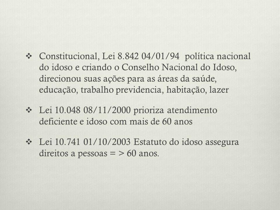 Constitucional, Lei 8.842 04/01/94 política nacional do idoso e criando o Conselho Nacional do Idoso, direcionou suas ações para as áreas da saúde, ed
