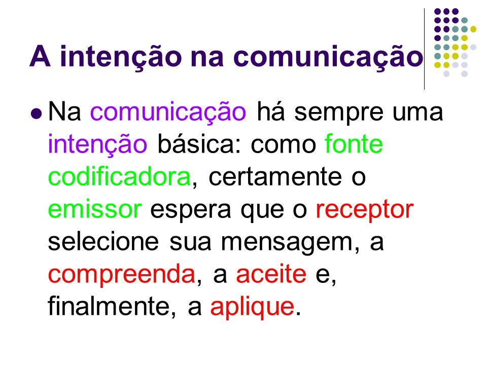 A intenção na comunicação Na comunicação há sempre uma intenção básica: como fonte codificadora, certamente o emissor espera que o receptor selecione sua mensagem, a compreenda, a aceite e, finalmente, a aplique.