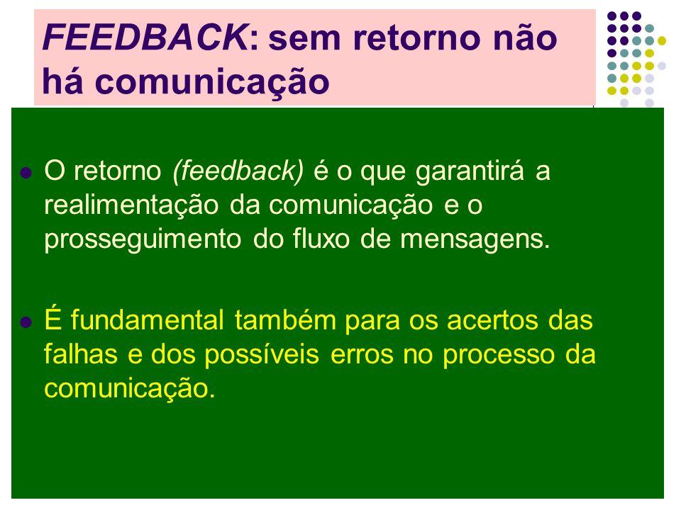 FEEDBACK: sem retorno não há comunicação O retorno (feedback) é o que garantirá a realimentação da comunicação e o prosseguimento do fluxo de mensagens.
