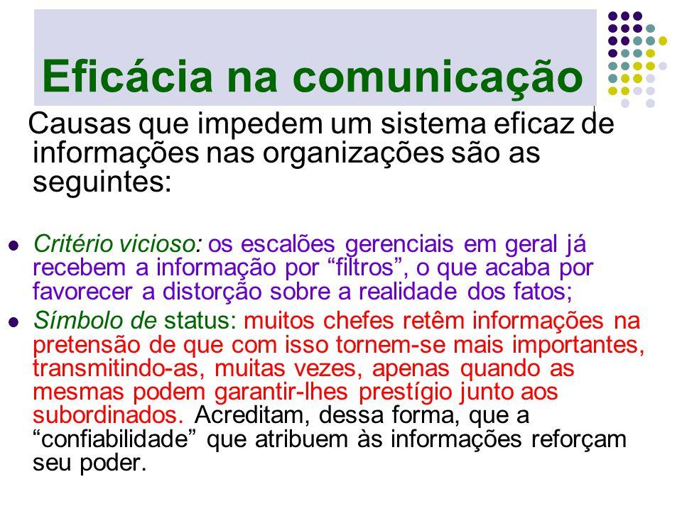 Eficácia na comunicação Causas que impedem um sistema eficaz de informações nas organizações são as seguintes: Critério vicioso: os escalões gerenciai