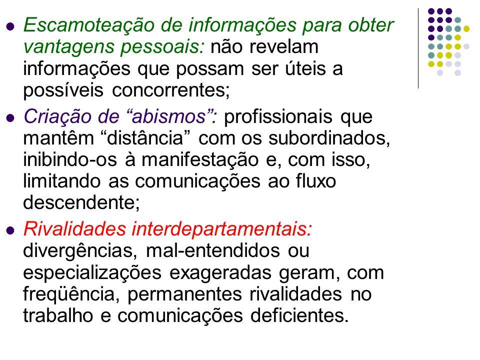 Escamoteação de informações para obter vantagens pessoais: não revelam informações que possam ser úteis a possíveis concorrentes; Criação de abismos: profissionais que mantêm distância com os subordinados, inibindo-os à manifestação e, com isso, limitando as comunicações ao fluxo descendente; Rivalidades interdepartamentais: divergências, mal-entendidos ou especializações exageradas geram, com freqüência, permanentes rivalidades no trabalho e comunicações deficientes.