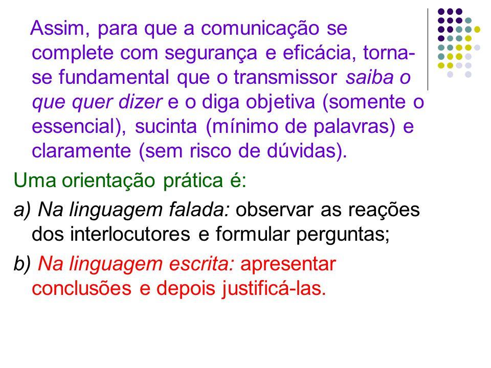 Assim, para que a comunicação se complete com segurança e eficácia, torna- se fundamental que o transmissor saiba o que quer dizer e o diga objetiva (