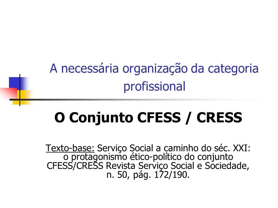 A necessária organização da categoria profissional O Conjunto CFESS / CRESS Texto-base: Serviço Social a caminho do séc. XXI: o protagonismo ético-pol