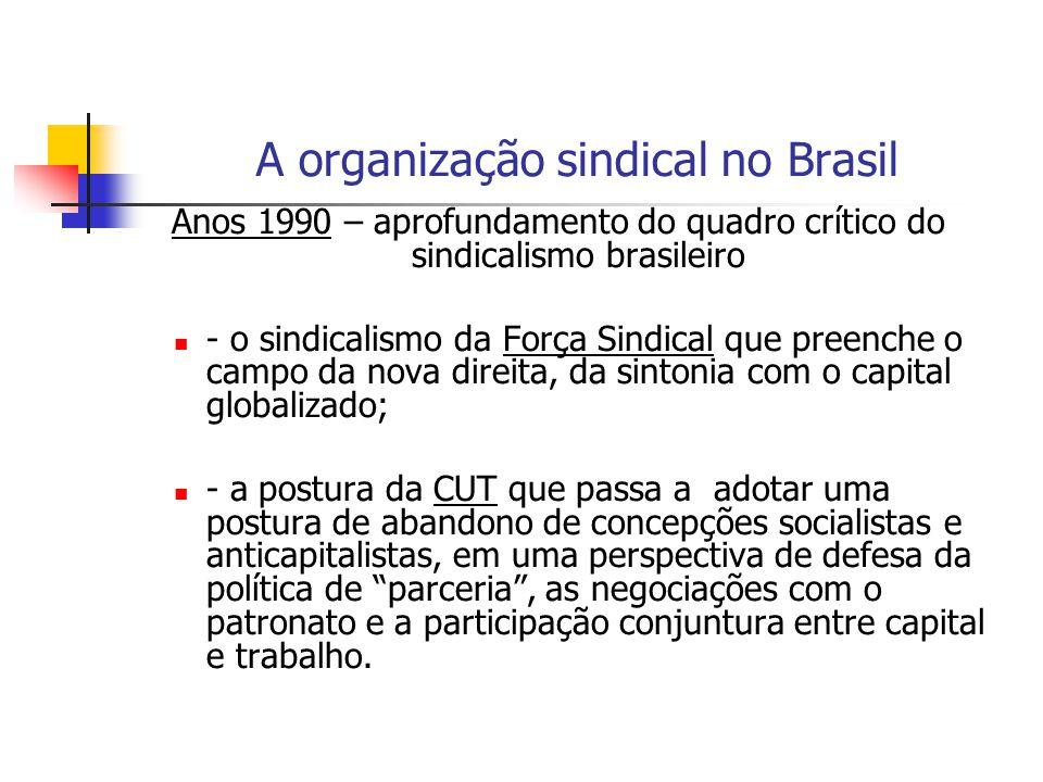 A organização sindical no Brasil Anos 1990 – aprofundamento do quadro crítico do sindicalismo brasileiro - o sindicalismo da Força Sindical que preenc