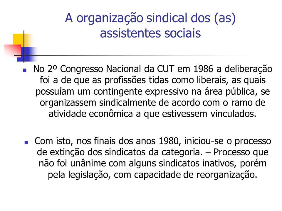 A organização sindical dos (as) assistentes sociais No 2º Congresso Nacional da CUT em 1986 a deliberação foi a de que as profissões tidas como liberais, as quais possuíam um contingente expressivo na área pública, se organizassem sindicalmente de acordo com o ramo de atividade econômica a que estivessem vinculados.