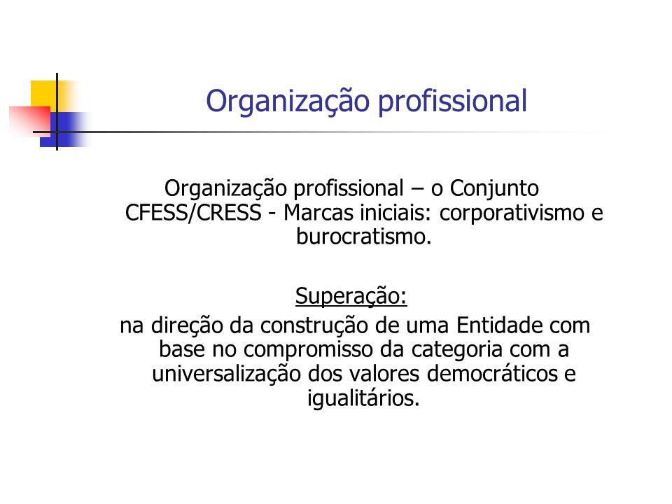 Organização profissional Organização profissional – o Conjunto CFESS/CRESS - Marcas iniciais: corporativismo e burocratismo. Superação: na direção da