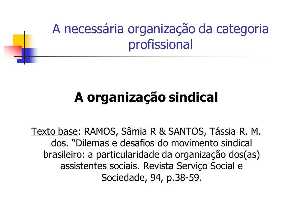 A necessária organização da categoria profissional A organização sindical Texto base: RAMOS, Sâmia R & SANTOS, Tássia R. M. dos. Dilemas e desafios do