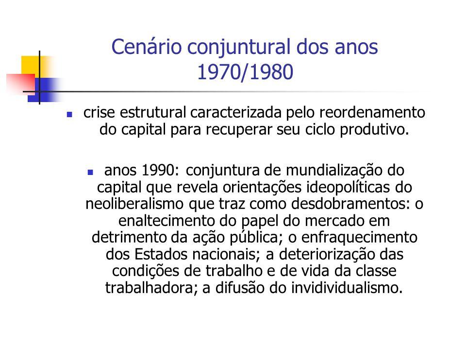 Cenário conjuntural dos anos 1970/1980 crise estrutural caracterizada pelo reordenamento do capital para recuperar seu ciclo produtivo. anos 1990: con