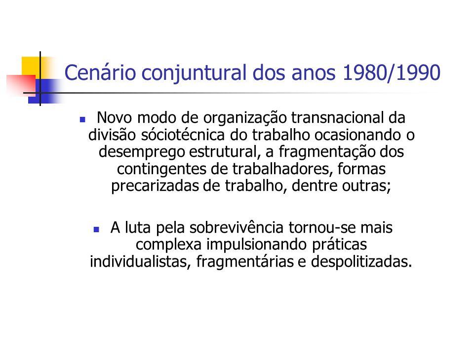 Cenário conjuntural dos anos 1980/1990 Novo modo de organização transnacional da divisão sóciotécnica do trabalho ocasionando o desemprego estrutural,