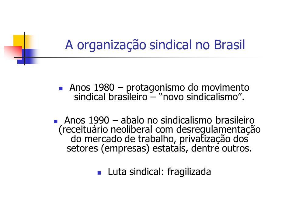 A organização sindical no Brasil Anos 1980 – protagonismo do movimento sindical brasileiro – novo sindicalismo. Anos 1990 – abalo no sindicalismo bras