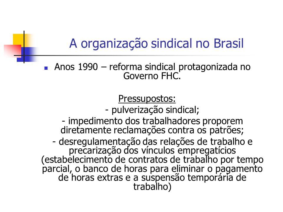 A organização sindical no Brasil Anos 1990 – aprofundamento do quadro crítico do sindicalismo brasileiro - o sindicalismo da Força Sindical que preenche o campo da nova direita, da sintonia com o capital globalizado; - a postura da CUT que passa a adotar uma postura de abandono de concepções socialistas e anticapitalistas, em uma perspectiva de defesa da política de parceria, as negociações com o patronato e a participação conjuntura entre capital e trabalho.