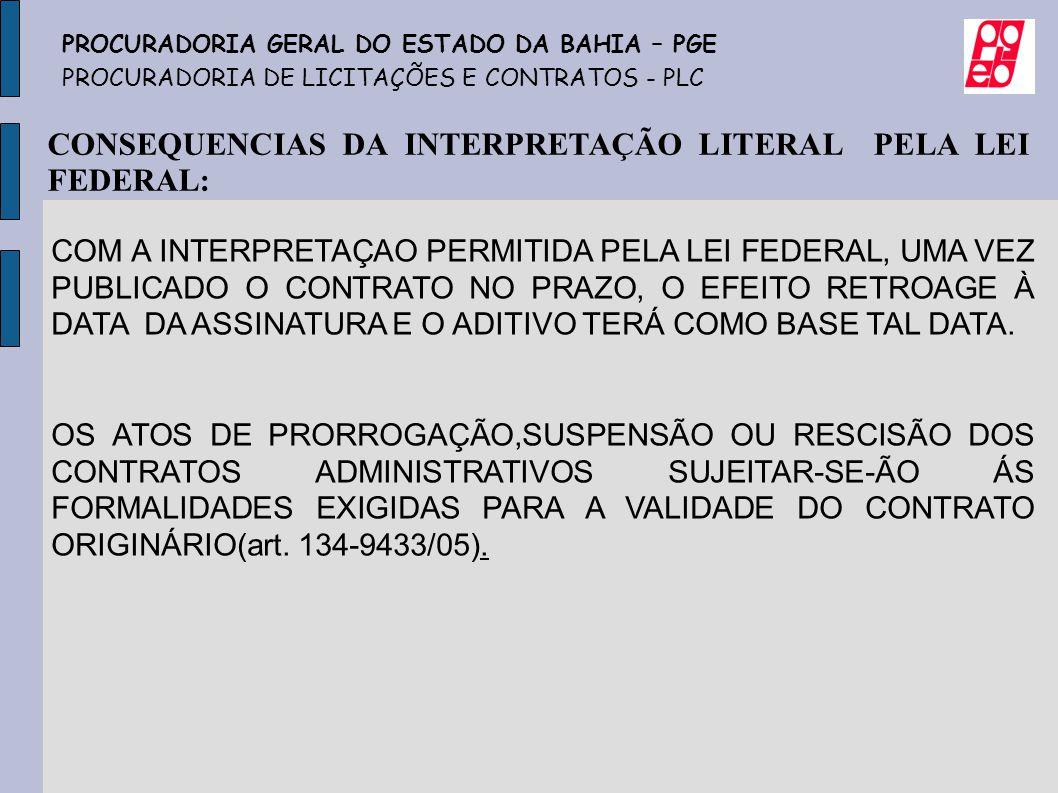 CONSEQUENCIAS DA INTERPRETAÇÃO LITERAL PELA LEI FEDERAL: COM A INTERPRETAÇAO PERMITIDA PELA LEI FEDERAL, UMA VEZ PUBLICADO O CONTRATO NO PRAZO, O EFEI