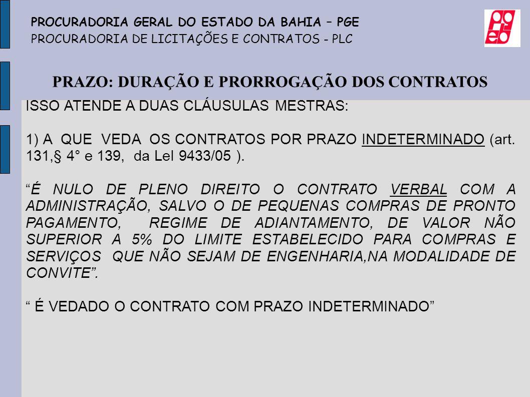 PRAZO: DURAÇÃO E PRORROGAÇÃO DOS CONTRATOS ISSO ATENDE A DUAS CLÁUSULAS MESTRAS: 1) A QUE VEDA OS CONTRATOS POR PRAZO INDETERMINADO (art. 131,§ 4° e 1