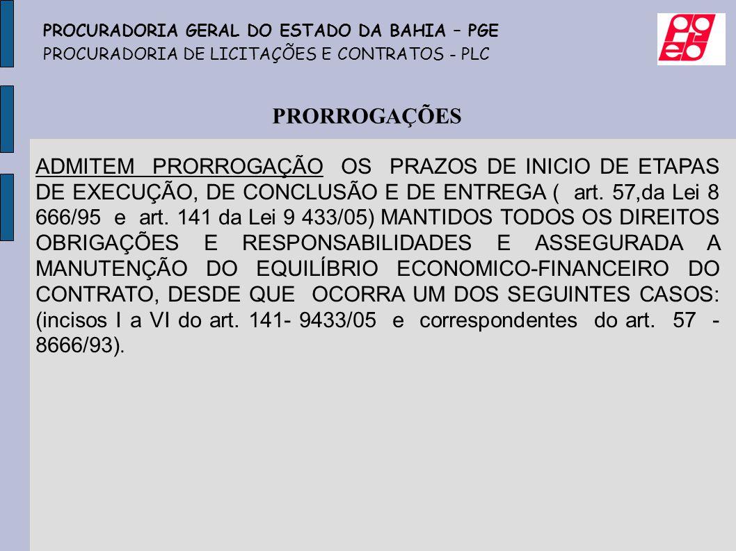 ADMITEM PRORROGAÇÃO OS PRAZOS DE INICIO DE ETAPAS DE EXECUÇÃO, DE CONCLUSÃO E DE ENTREGA ( art. 57,da Lei 8 666/95 e art. 141 da Lei 9 433/05) MANTIDO
