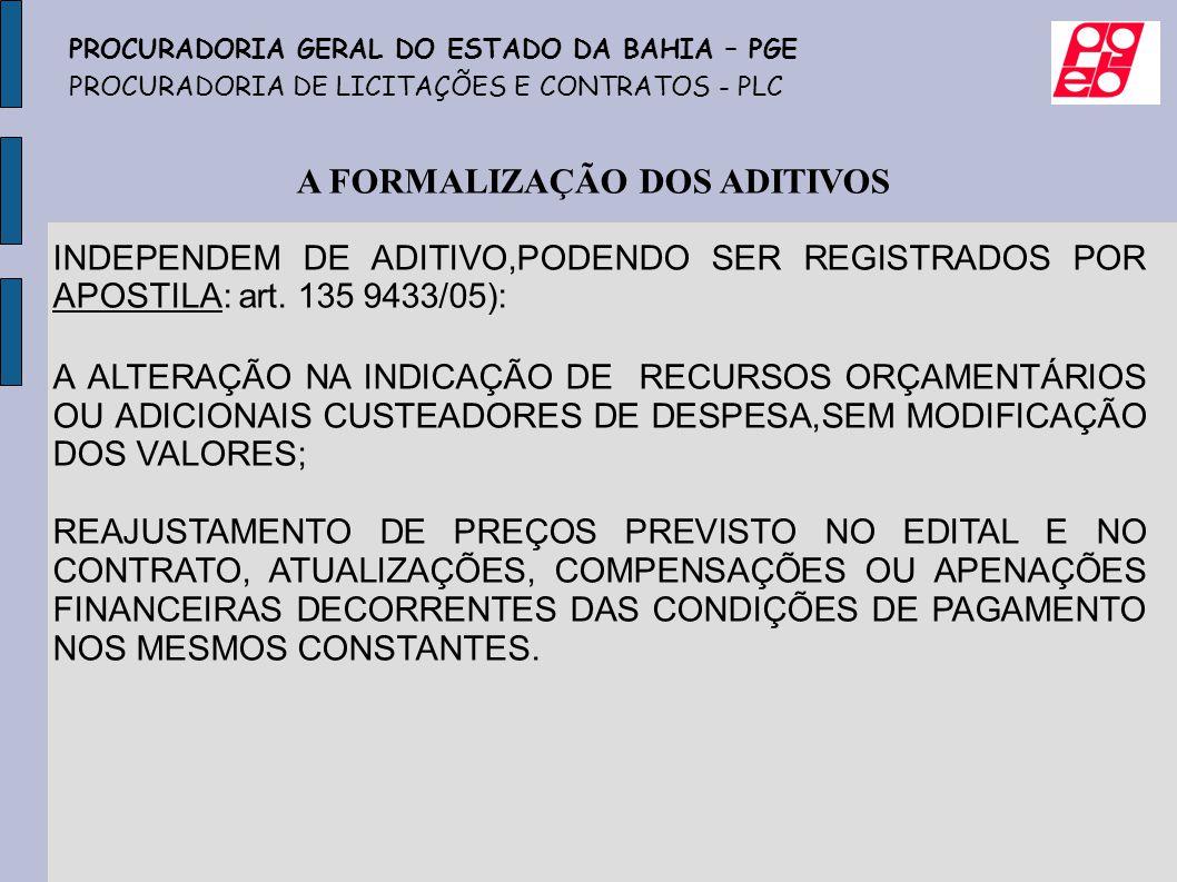 A FORMALIZAÇÃO DOS ADITIVOS INDEPENDEM DE ADITIVO,PODENDO SER REGISTRADOS POR APOSTILA: art. 135 9433/05): A ALTERAÇÃO NA INDICAÇÃO DE RECURSOS ORÇAME