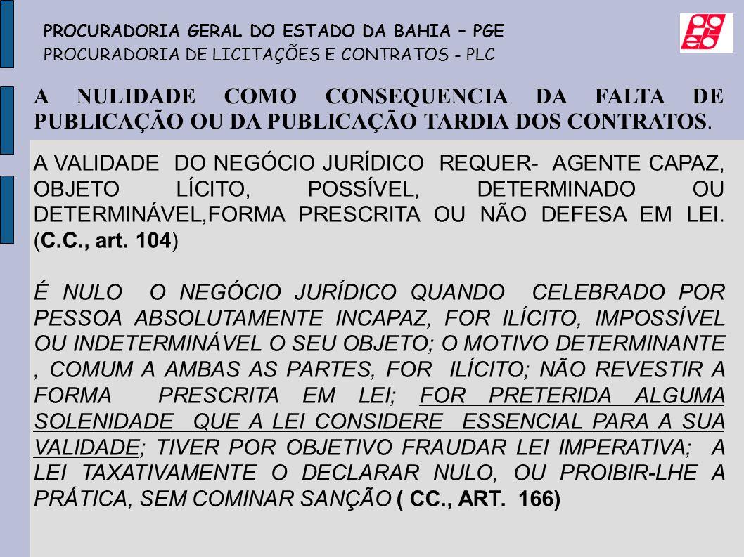A NULIDADE COMO CONSEQUENCIA DA FALTA DE PUBLICAÇÃO OU DA PUBLICAÇÃO TARDIA DOS CONTRATOS. A VALIDADE DO NEGÓCIO JURÍDICO REQUER- AGENTE CAPAZ, OBJETO