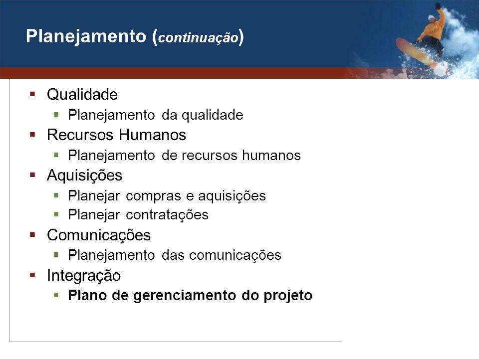 Planejamento ( continuação ) Qualidade Planejamento da qualidade Recursos Humanos Planejamento de recursos humanos Aquisições Planejar compras e aquis