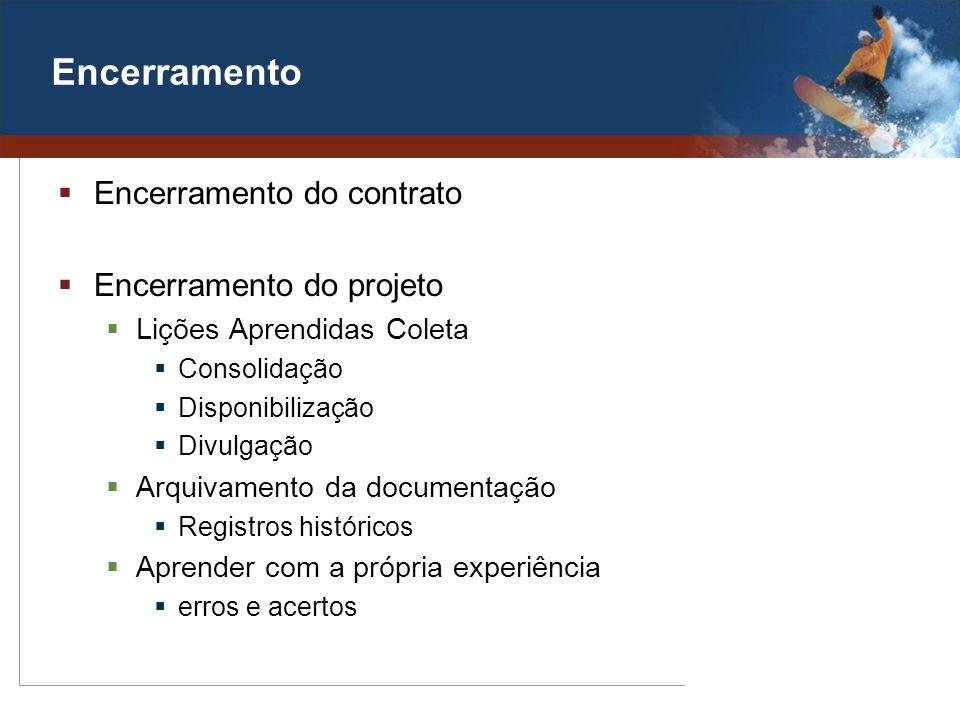 Encerramento Encerramento do contrato Encerramento do projeto Lições Aprendidas Coleta Consolidação Disponibilização Divulgação Arquivamento da docume