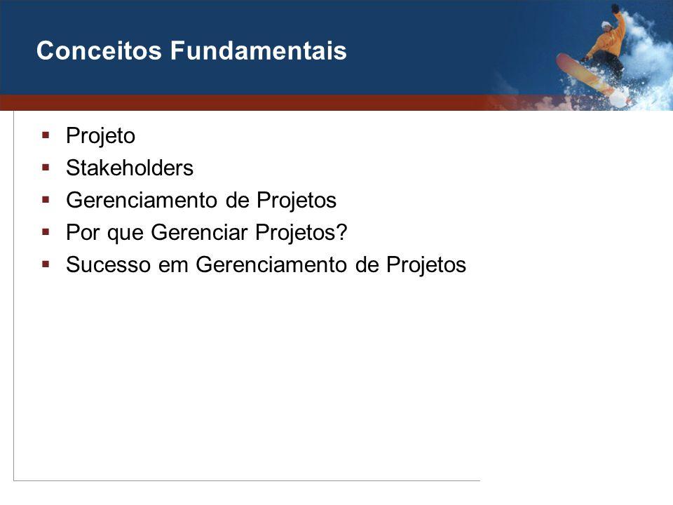 Conceitos Fundamentais Projeto Stakeholders Gerenciamento de Projetos Por que Gerenciar Projetos? Sucesso em Gerenciamento de Projetos