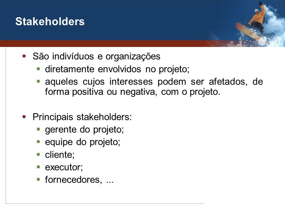 Stakeholders São indivíduos e organizações diretamente envolvidos no projeto; aqueles cujos interesses podem ser afetados, de forma positiva ou negati