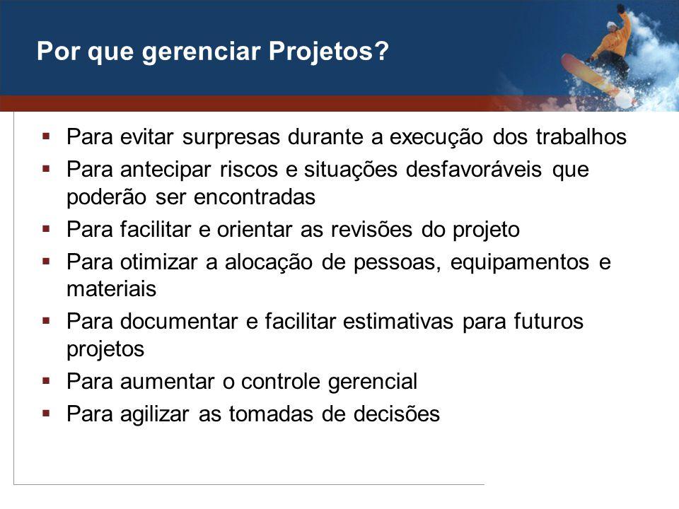Por que gerenciar Projetos? Para evitar surpresas durante a execução dos trabalhos Para antecipar riscos e situações desfavoráveis que poderão ser enc