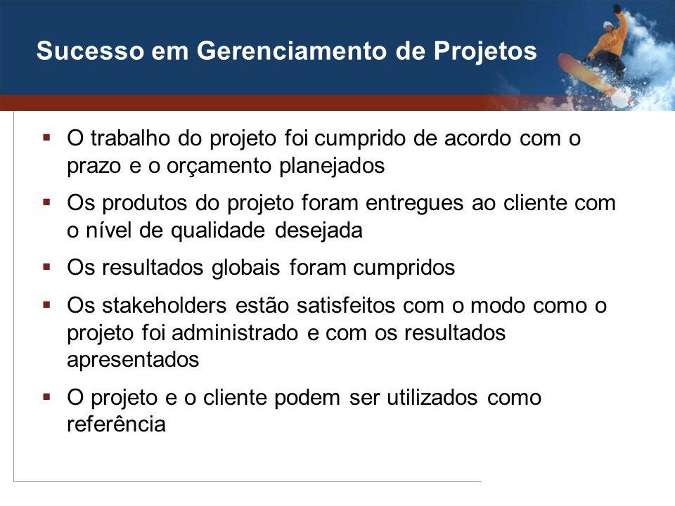 Sucesso em Gerenciamento de Projetos O trabalho do projeto foi cumprido de acordo com o prazo e o orçamento planejados Os produtos do projeto foram en