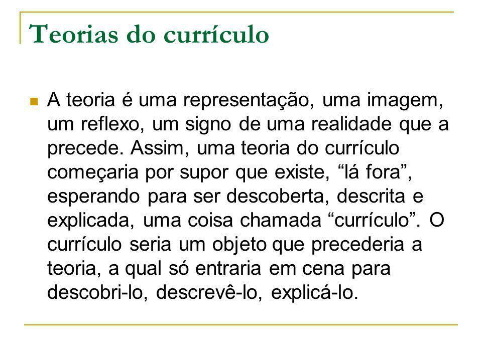 Teorias do currículo A teoria é uma representação, uma imagem, um reflexo, um signo de uma realidade que a precede. Assim, uma teoria do currículo com