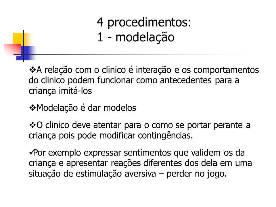 A relação com o clinico é interação e os comportamentos do clinico podem funcionar como antecedentes para a criança imitá-los Modelação é dar modelos