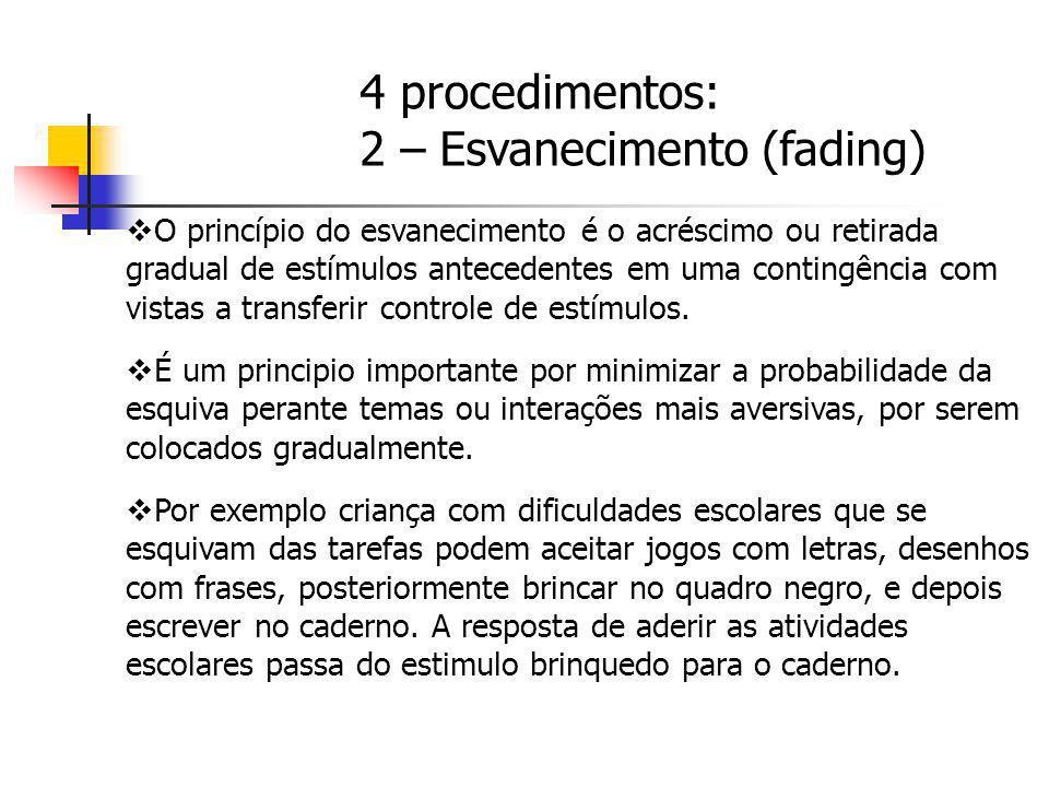 O princípio do esvanecimento é o acréscimo ou retirada gradual de estímulos antecedentes em uma contingência com vistas a transferir controle de estím